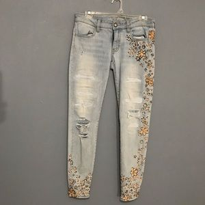AEO, size 8, regular, hand painted jeans